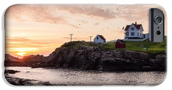 Nubble Lighthouse iPhone Cases - Nubble at Sunrise iPhone Case by Steven Campbell