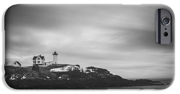 Cape Neddick Lighthouse iPhone Cases - Nubble Head Light BW iPhone Case by Michael Ver Sprill