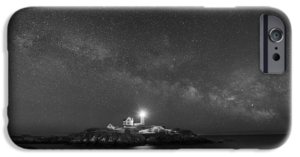 Nubble Lighthouse iPhone Cases - Nubble Light At Night BW iPhone Case by Michael Ver Sprill
