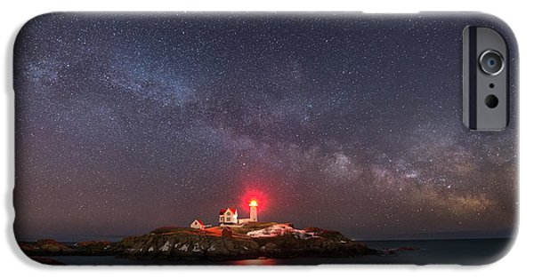 Cape Neddick Lighthouse iPhone Cases - Nubble Light At Night iPhone Case by Michael Ver Sprill