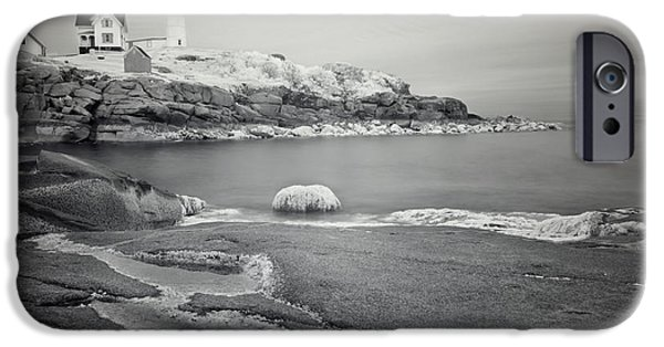 Cape Neddick Lighthouse iPhone Cases - Nubble Light Black and White iPhone Case by Luke Moore