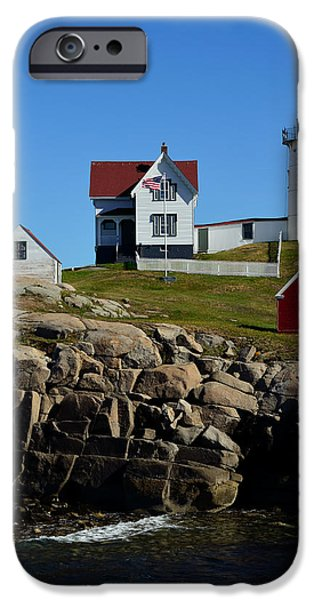 Red Rock iPhone Cases - Nubble Light House 2 iPhone Case by Richard Ortolano