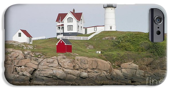 Maine iPhone Cases - Nubble Light House-Maine iPhone Case by Gina Sullivan