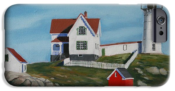 Maine Seascapes iPhone Cases - Nubble Light House iPhone Case by Paul Walsh