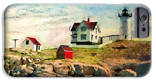 Maine iPhone Cases - Nubble light - painted iPhone Case by Gene Healy