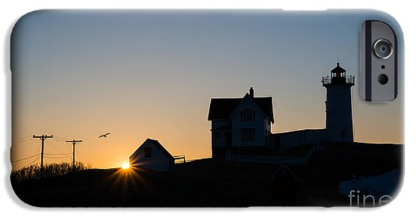Nubble Lighthouse iPhone Cases - Nubble Light Silhouette  iPhone Case by Michael Ver Sprill