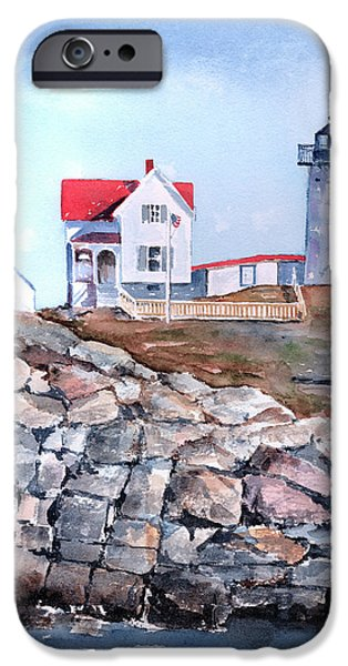Maine Landscapes Paintings iPhone Cases - Nubble Lighthouse - Maine iPhone Case by Arline Wagner