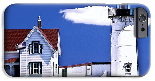 Nubble Lighthouse iPhone Cases - Nubble Lighthouse iPhone Case by George Sipl