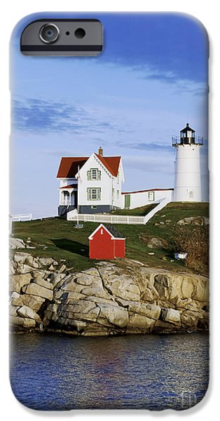 Nubble Lighthouse iPhone Cases - Nubble Lighthouse iPhone Case by John Greim