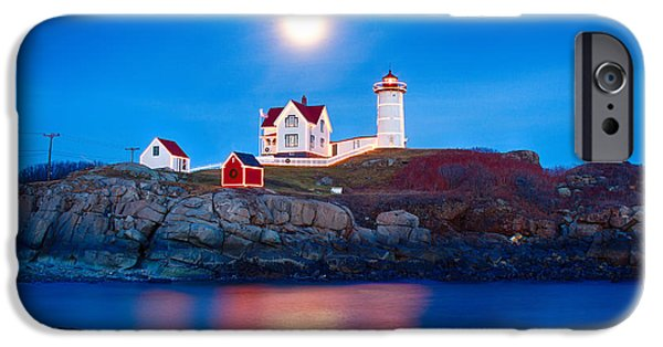 Nubble Lighthouse iPhone Cases - Nubble Lighthouse lit for the season iPhone Case by Jeff Folger