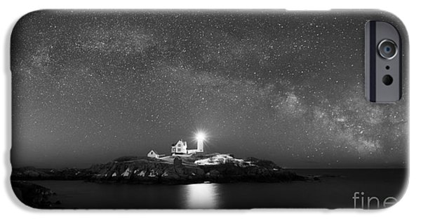 Cape Neddick Lighthouse iPhone Cases - Nubble Lighthouse Milky Way Pano bw iPhone Case by Michael Ver Sprill