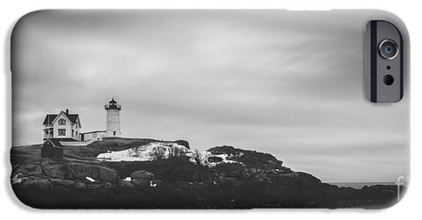 Nubble Lighthouse iPhone Cases - Nubble Lighthouse Overcast BW iPhone Case by Michael Ver Sprill