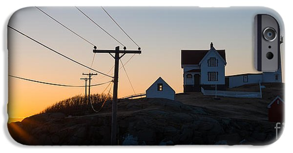 Cape Neddick Lighthouse iPhone Cases - Nubble Lighthouse Panorama Sunrise iPhone Case by Michael Ver Sprill