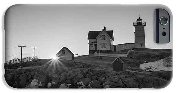 Nubble Lighthouse iPhone Cases - Nubble Lighthouse Sunburst BW iPhone Case by Michael Ver Sprill