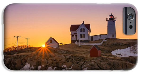 Nubble Lighthouse iPhone Cases - Nubble Lighthouse Sunburst iPhone Case by Michael Ver Sprill