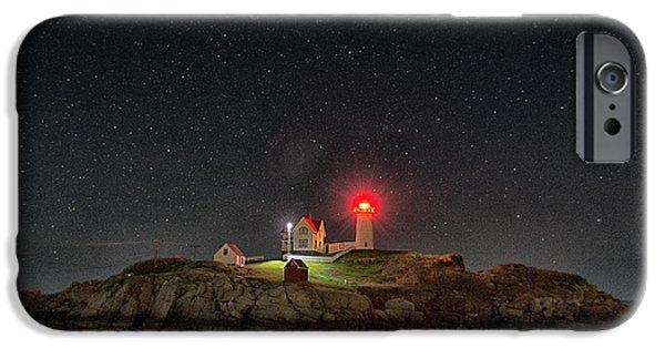 Nubble Lighthouse iPhone Cases - Nubble Stars iPhone Case by Robert Fawcett