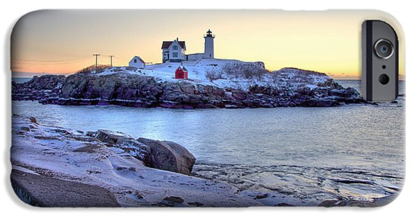 York County iPhone Cases - Nubble Sunrise iPhone Case by Susan Cole Kelly