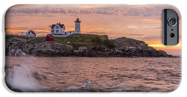 Nubble Lighthouse iPhone Cases - Nubble Sunrise iPhone Case by Tony Baldasaro