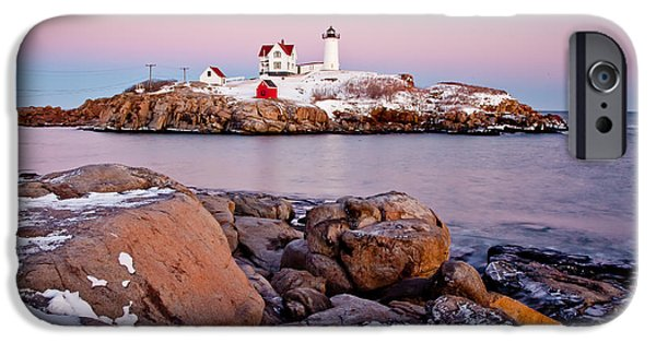 York County iPhone Cases - Nubble Winter Dusk iPhone Case by Susan Cole Kelly