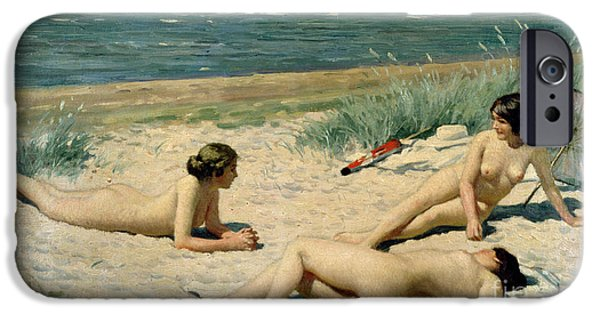 Bathers iPhone Cases - Nude bathers on the beach iPhone Case by Paul Fischer