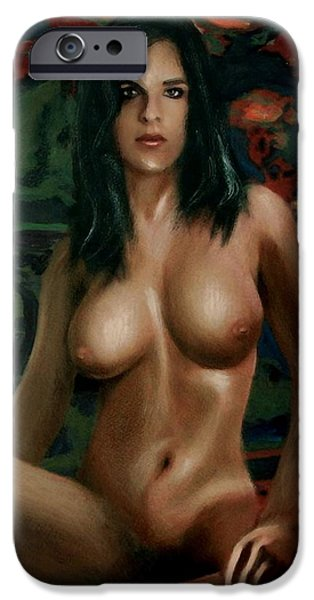 Best Sellers -  - Multimedia iPhone Cases - NUDE FEMALE PORTRAIT SARA SEATED female nude torso iPhone Case by G Linsenmayer