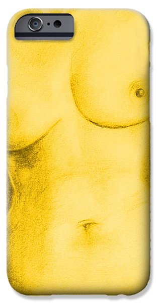 Graphite Drawing Pastels iPhone Cases - Nude Female Torso - PPSFN-0002-in Yellow iPhone Case by Pat Bullen-Whatling