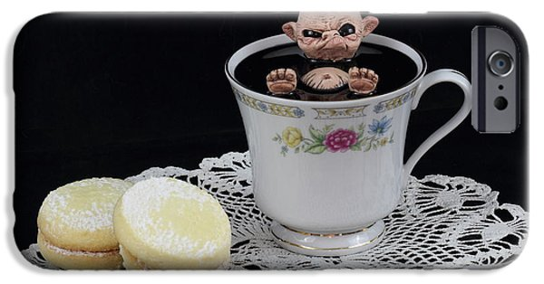 Michael Sculptures iPhone Cases - Nude Imp bathing in a teacup iPhone Case by Michael Palmer