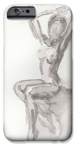Watercolor iPhone Cases - Nude Lady iPhone Case by Melvin Nesbitt Jr