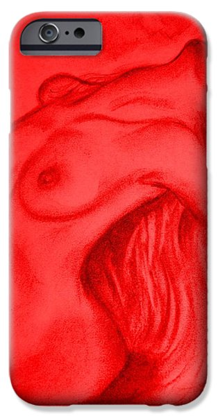Graphite Drawing Pastels iPhone Cases - Nude-leaning back-001-2880-3840-in Red iPhone Case by Pat Bullen-Whatling