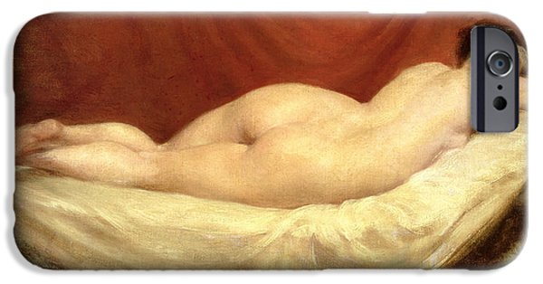 Voluptuous iPhone Cases - Nude Lying On A Sofa Against A Red Curtain iPhone Case by William Etty