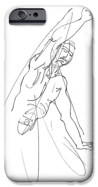 Male Nude Drawing Drawings iPhone Cases - Nude_Male_Drawing_25 iPhone Case by Gordon Punt