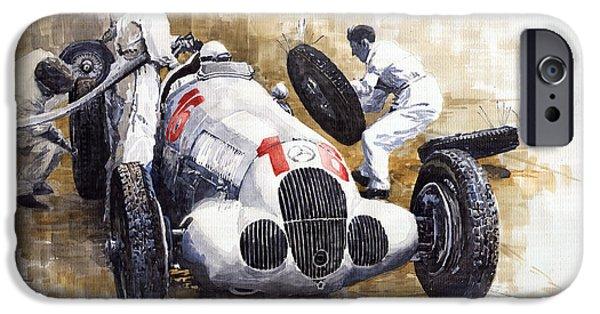 Racing iPhone Cases - Nurburgring Pit Stop 1937 Hermann Lang MB W125 iPhone Case by Yuriy  Shevchuk
