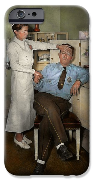Police Art iPhone Cases - Nurse - Sick Day - 1937 iPhone Case by Mike Savad