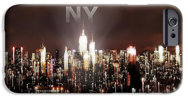 Asphalt iPhone Cases - NY Dark Silhouete With Tex iPhone Case by HQ Photo