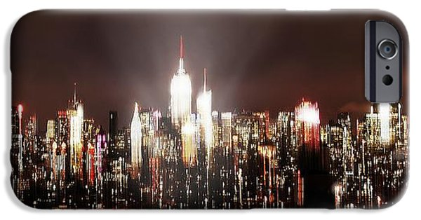 Asphalt iPhone Cases - NY Skyline Abstract night  iPhone Case by HQ Photo