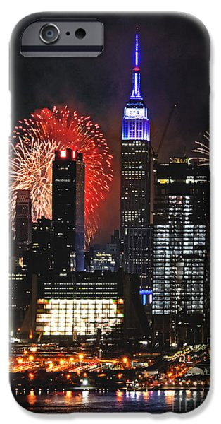4th July Photographs iPhone Cases - NYC 4th of July Fireworks iPhone Case by Regina Geoghan