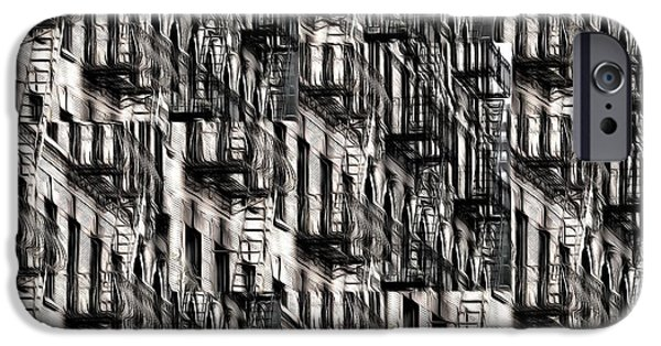 Buildings iPhone Cases - NYC Fire Escapes iPhone Case by Edward Fielding