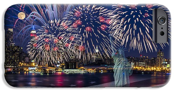 Hudson River Digital iPhone Cases - NYC Fourth Of July Celebration iPhone Case by Susan Candelario