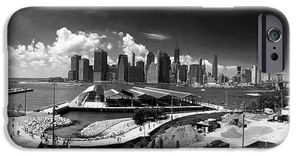 Hudson River iPhone Cases - NYC from Williamsburg in Black and White iPhone Case by P Jeff Smith