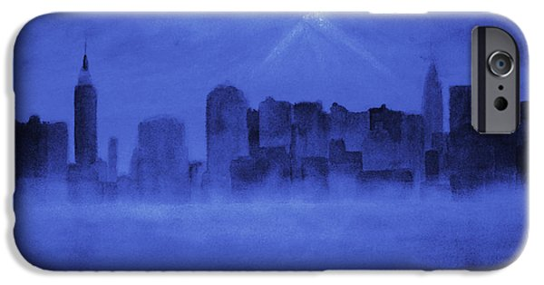 Twin Towers Nyc Paintings iPhone Cases - Nyc Moon iPhone Case by Ken Figurski