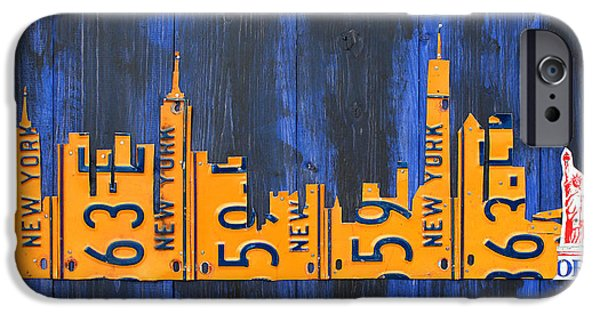 Nyc Mixed Media iPhone Cases - NYC New York City Skyline with Lady Liberty and Freedom Tower Recycled License Plate Art iPhone Case by Design Turnpike