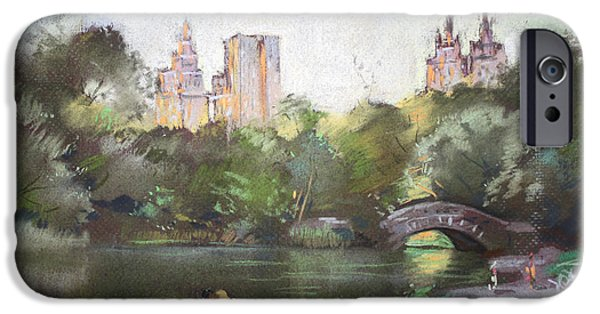 Building Pastels iPhone Cases - NYC Resting in Central Park iPhone Case by Ylli Haruni