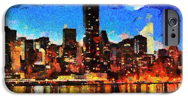 Caruso iPhone Cases - NYC Skyline at Night iPhone Case by Anthony Caruso