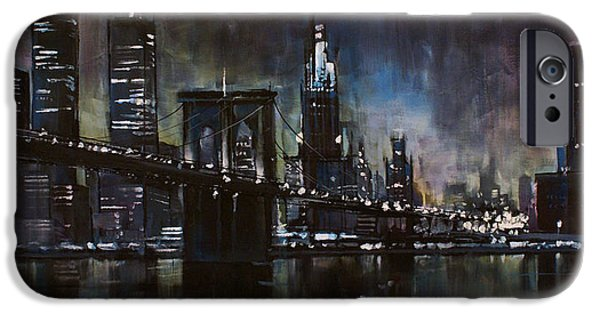 Moody Paintings iPhone Cases - N.Y.City iPhone Case by Michael Lang