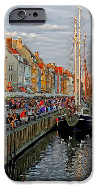 Tall Ship iPhone Cases - Nyhavn Canal Scene iPhone Case by Kenan Tekin