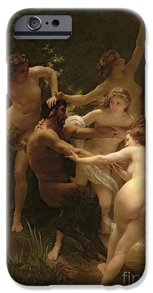 Female Body iPhone Cases - Nymphs and Satyr iPhone Case by William Adolphe Bouguereau