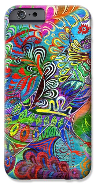Trippy Paintings iPhone Cases - O bird among the leaves iPhone Case by Jane Tattersfield