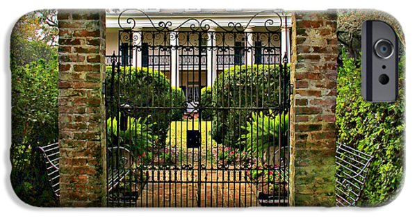 Oak Alley Plantation iPhone Cases - Oak Alley Gate iPhone Case by Perry Webster