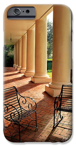 Oak Alley Plantation iPhone Cases - Oak Alley Porch iPhone Case by Perry Webster