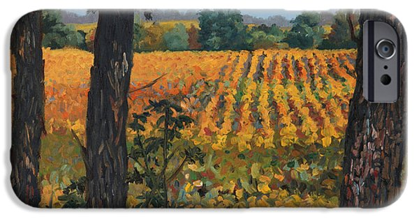 Farm Fields Paintings iPhone Cases - Oak Grove of Grant Township iPhone Case by Sandra Quintus